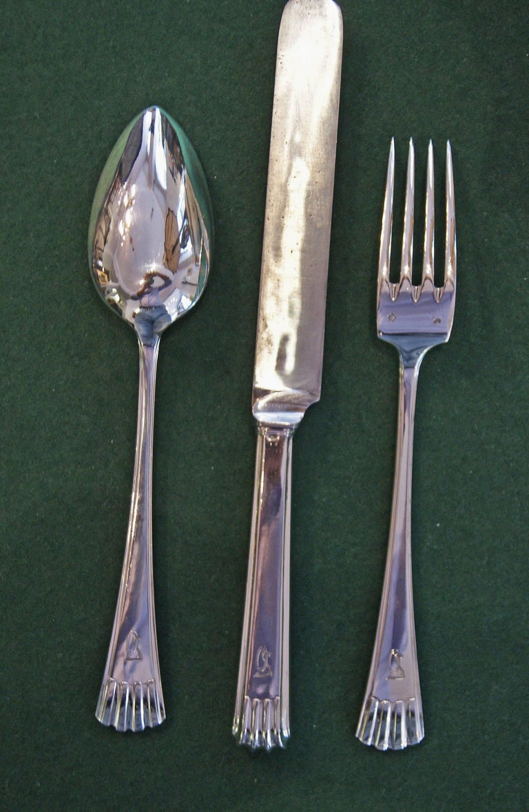 Silver 800 186-Piece Flatware Cutlery Set 12 Persons V.C.Dub Austria Vienna 1915 For Sale 2
