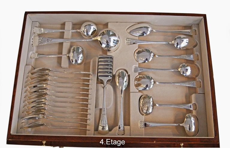 Early 20th Century Silver 800 186-Piece Flatware Cutlery Set 12 Persons V.C.Dub Austria Vienna 1915 For Sale