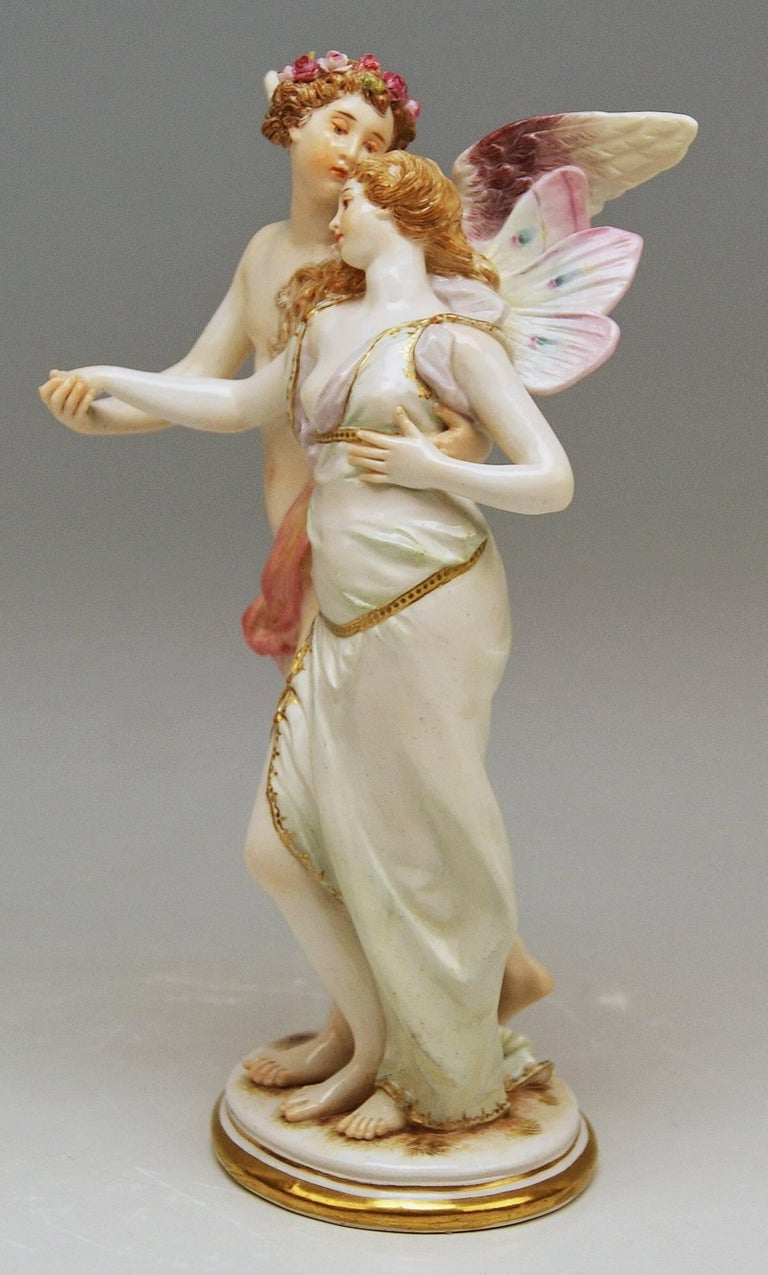 Painted Meissen Figurine Group Zephyr and Flora Model P 169 Gustave Deloy, circa 1900 For Sale