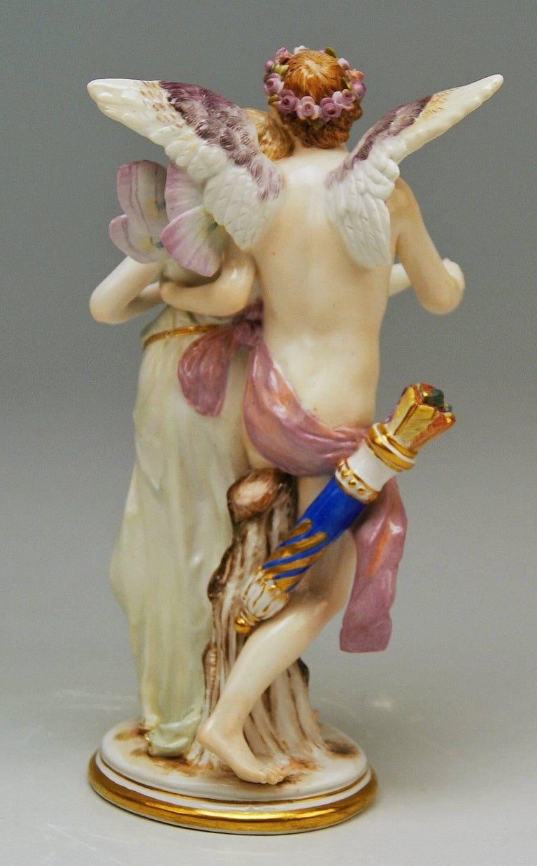 German Meissen Figurine Group Zephyr and Flora Model P 169 Gustave Deloy, circa 1900 For Sale