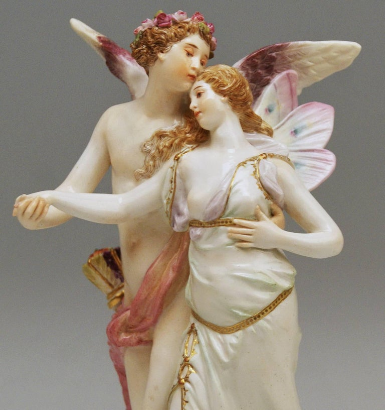 Meissen Figurine Group Zephyr and Flora Model P 169 Gustave Deloy, circa 1900 In Excellent Condition For Sale In Vienna, AT