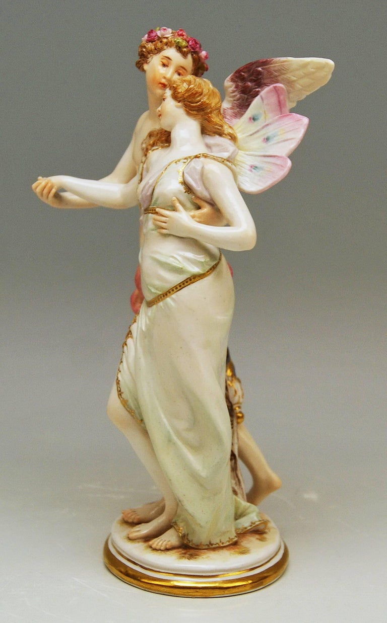 Neoclassical Meissen Figurine Group Zephyr and Flora Model P 169 Gustave Deloy, circa 1900 For Sale