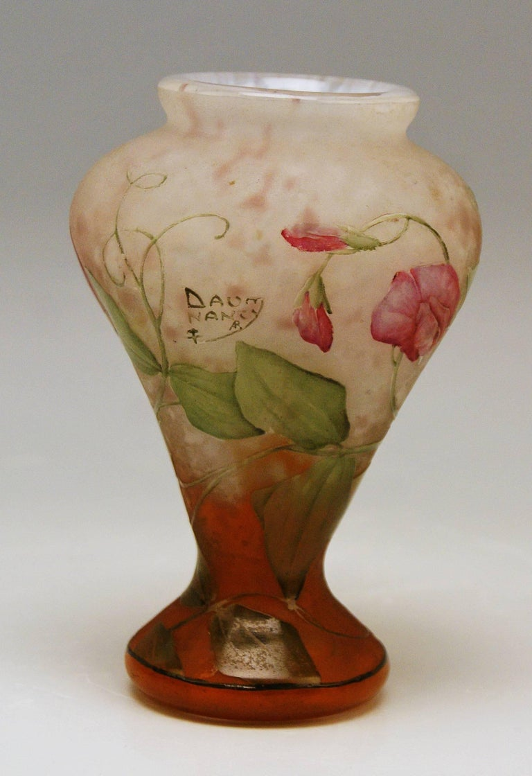 Early 20th Century Daum Nancy Vase Art Nouveau Flowers Vetches France Lorraine For Sale