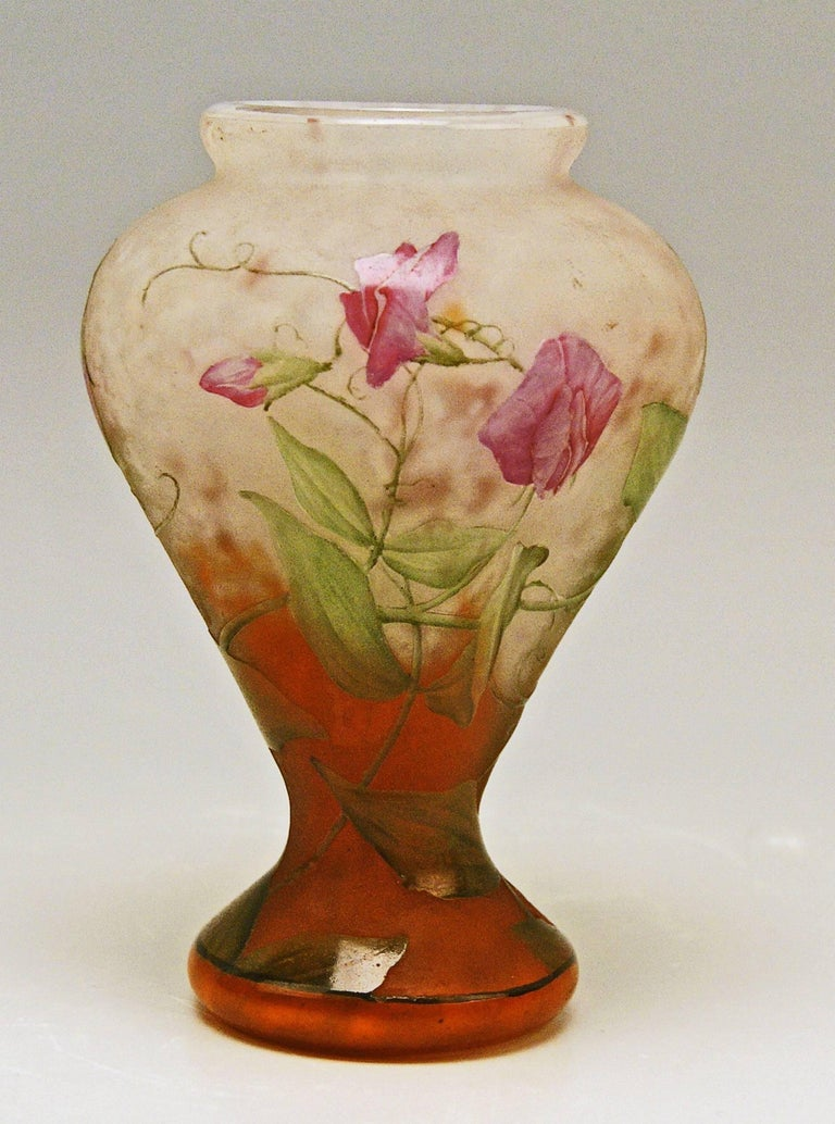 Etched Daum Nancy Vase Art Nouveau Flowers Vetches France Lorraine For Sale