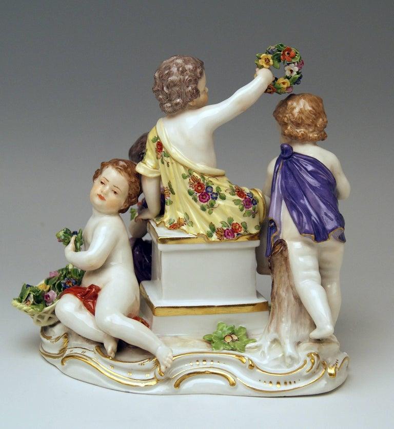 Painted Meissen Seasons Figurines Cupids Allegory of Spring Model 2502 Kaendler For Sale
