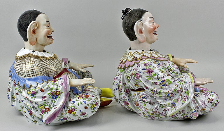 Porcelain Meissen Buddha Pair of Male and Female Movable Hands Head Tongue Kaendler For Sale