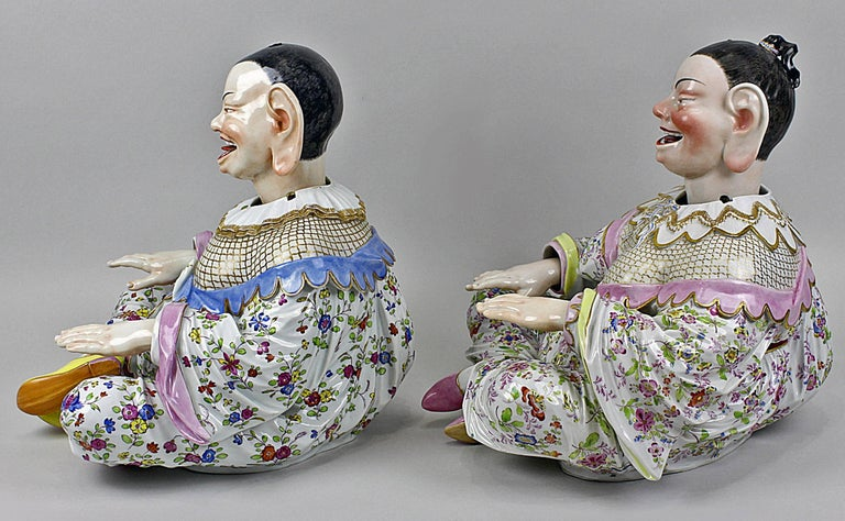 Meissen Buddha Pair of Male and Female Movable Hands Head Tongue Kaendler In Excellent Condition For Sale In Vienna, AT