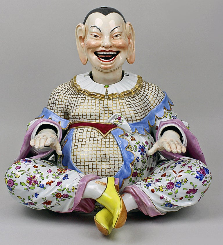 German Meissen Buddha Pair of Male and Female Movable Hands Head Tongue Kaendler For Sale