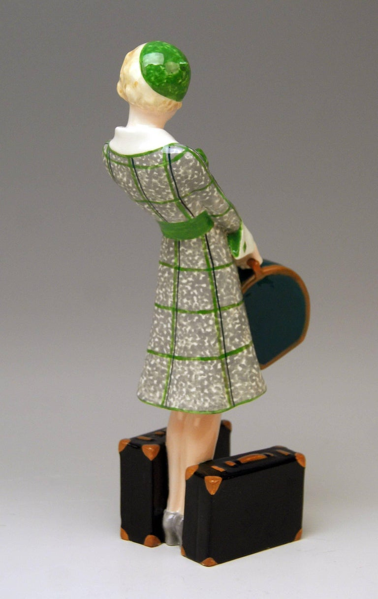 Austrian Goldscheider Vienna Figurine Lady Traveller Model 7064 Josef Lorenzl For Sale