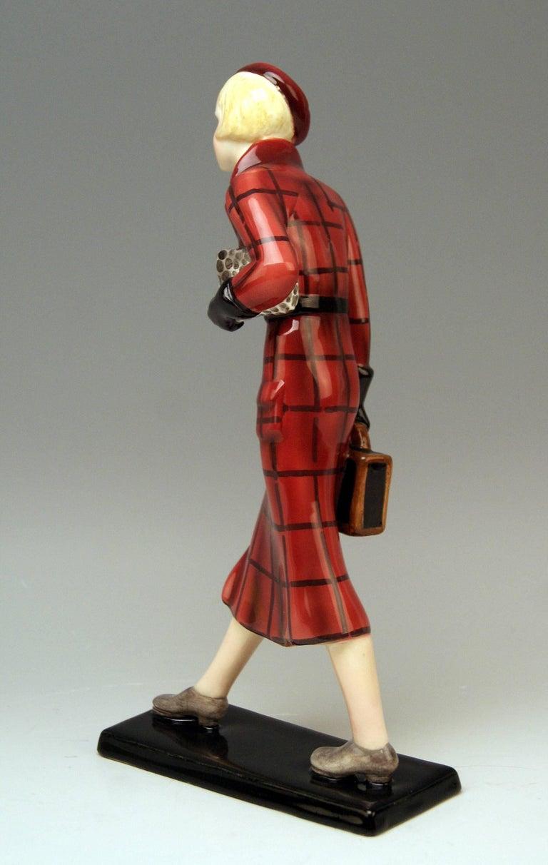 Art Deco Goldscheider Vienna Figurine Lady Traveller Lorenzl or Dakon Model 7271 For Sale