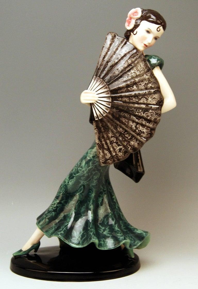 Goldscheider Vienna stunning tall lady figurine: Spanish lady dancer.  Designed by Stefan (Stephen) Dakon (1904-1997). Stefan Dakon was a well-known Austrian sculptor and ceramics artist.  He worked in close association with Josef Lorenzl: Both