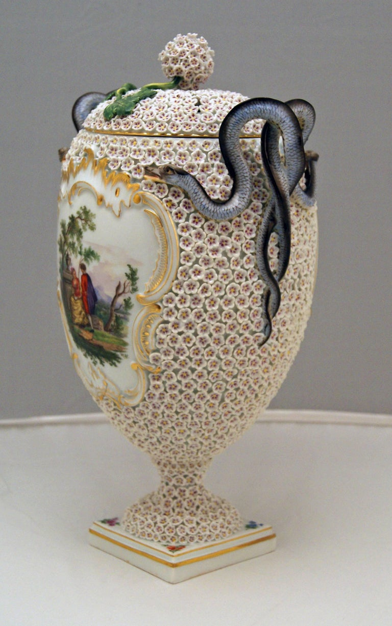Rococo Meissen Goblet Lidded Vase with Snowball Pattern and Snake Handles Made For Sale