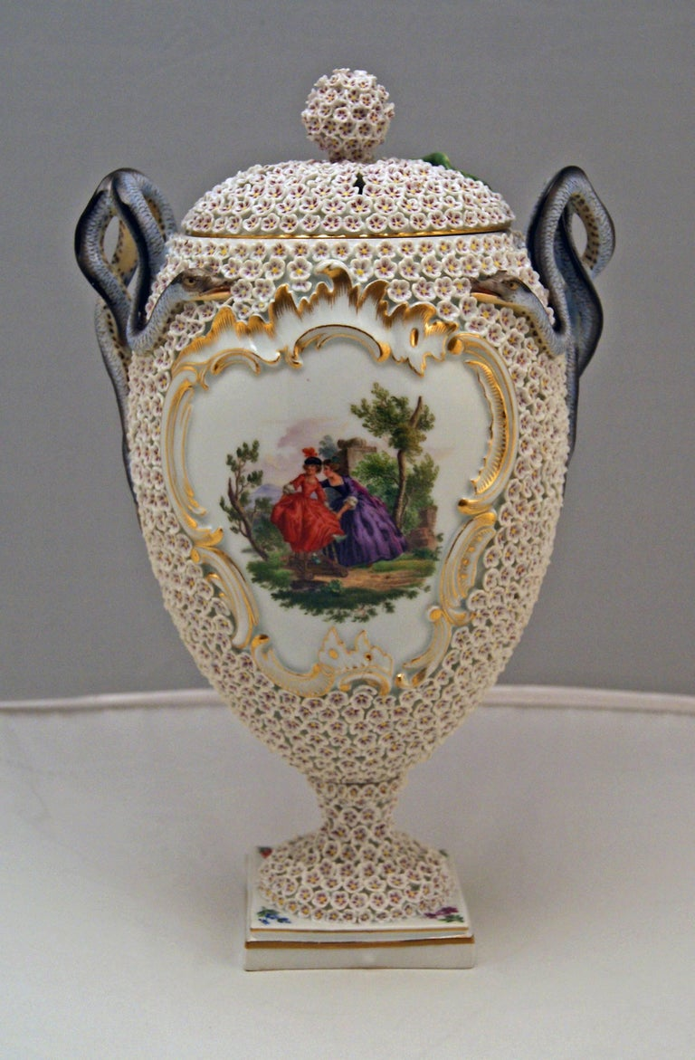 Painted Meissen Goblet Lidded Vase with Snowball Pattern and Snake Handles Made For Sale