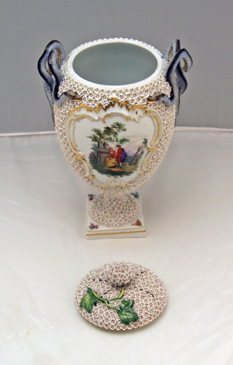 Mid-19th Century Meissen Goblet Lidded Vase with Snowball Pattern and Snake Handles Made For Sale