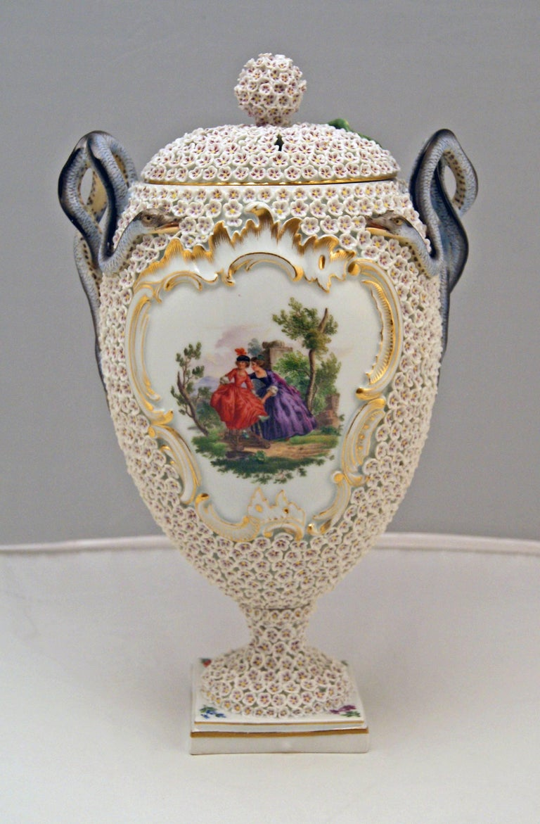 German Meissen Goblet Lidded Vase with Snowball Pattern and Snake Handles Made For Sale