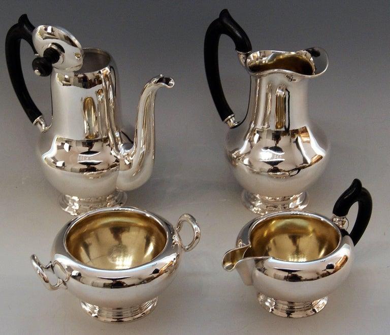 Austrian Silver Austria Vienna Coffee Pot Milk Pot Sugar Bowl Creamer Klinkosch 1922-1925 For Sale