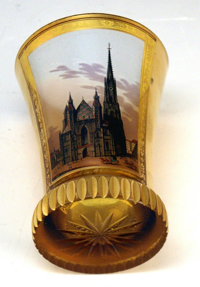 Glass Biedermeier Transparent Beaker Church Saint Stephen Vienna Kothgasser 1825 In Excellent Condition For Sale In Vienna, AT