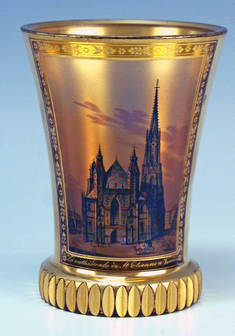 Finest glass beaker / cut-glass of Biedermeier period, with painted view of Cathedral Saint Stephen In Vienna: Picture created by Anton Kothgasser (1769-1851)