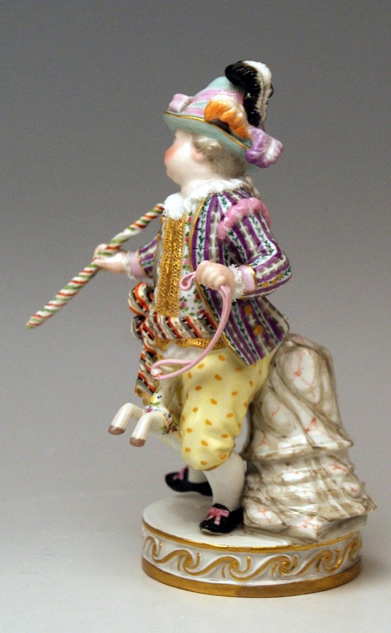 Meissen figurine of very lovely appearance: Boy Riding on hobbyhorse Model E 94  Measures: height 6.10 inches (15.5 cm) diameter of base 2.75 inches (7.0 cm)  Manufactory: Meissen Hallmarked: Blue Meissen Sword Mark (glazed bottom) model