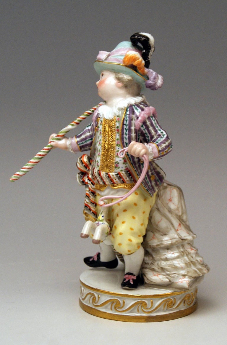 Meissen Boy Riding on Hobbyhorse by Christian Juechtzer Model E 94, circa 1860 In Excellent Condition For Sale In Vienna, AT