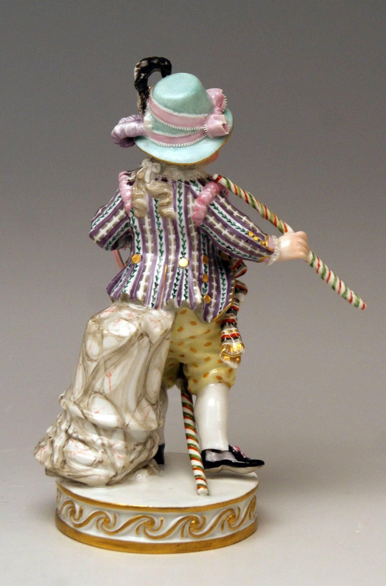 German Meissen Boy Riding on Hobbyhorse by Christian Juechtzer Model E 94, circa 1860 For Sale