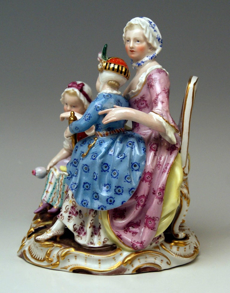 German Meissen Mother Two Children Model 2379 by Johann Joachim Kaendler, circa 1870 For Sale