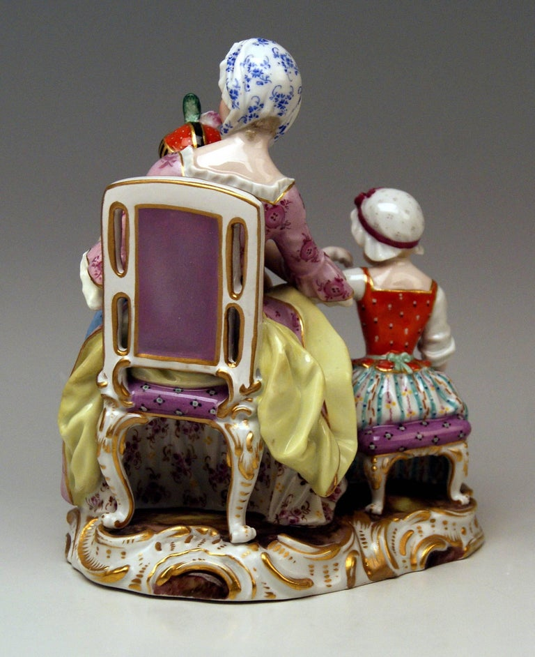 Painted Meissen Mother Two Children Model 2379 by Johann Joachim Kaendler, circa 1870 For Sale