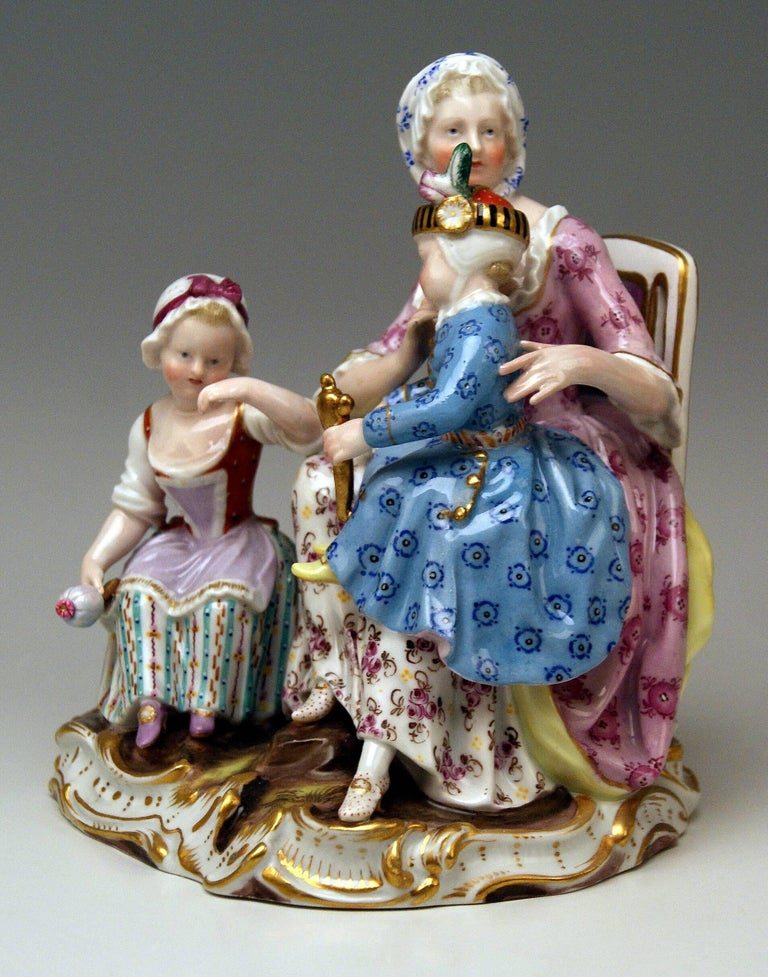 Rococo Meissen Mother Two Children Model 2379 by Johann Joachim Kaendler, circa 1870 For Sale