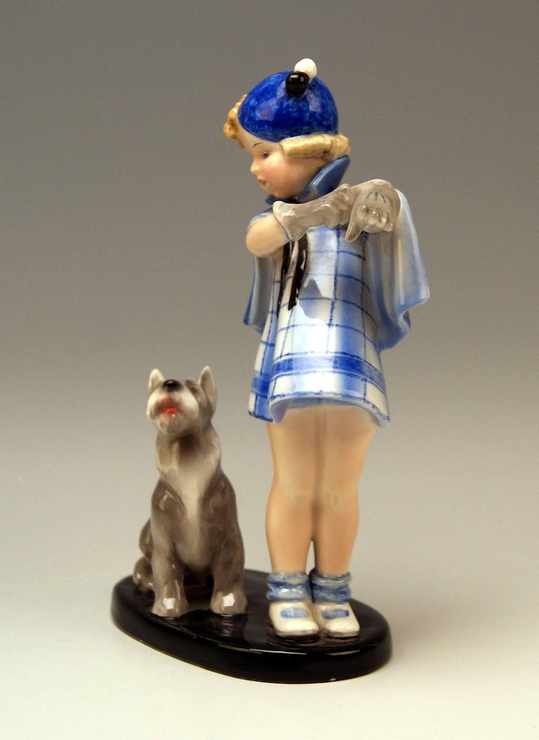 Austrian Goldscheider Vienna Girl and Dog Germaine Bouret Stephen Dakon Model 7664 For Sale