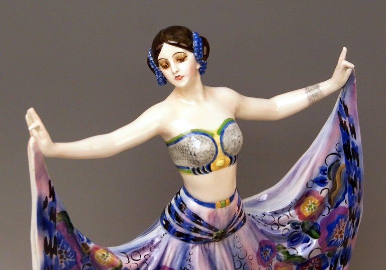 Painted Goldscheider Vienna Lady Dancer Ruth by Rosé Model 4141, Made circa 1925 For Sale