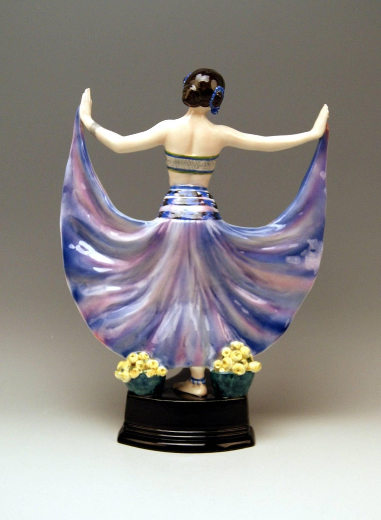 Goldscheider Vienna stunning figurine: Lady dancer called Ruth  Designer: Rosé (Pseudonym / Stanislaus Czapek ?) A very important designer having been active for Goldscheider manufactory in period of 1912 - 1930 / this pseudonym is visible on