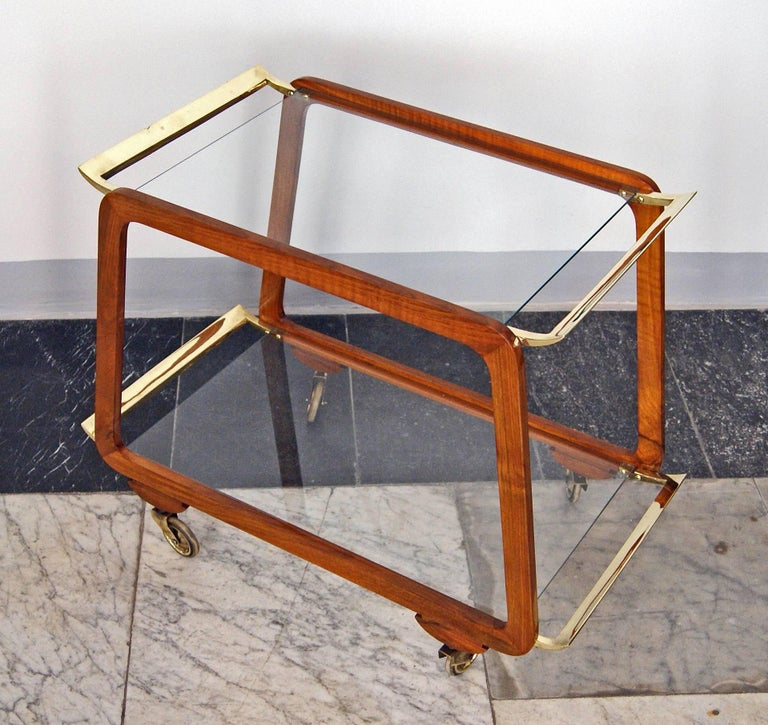 Mid-20th Century Vienna Art Deco Serving Trolley Bar Cart Nut Wood Glass Shelves Made circa 1930 For Sale