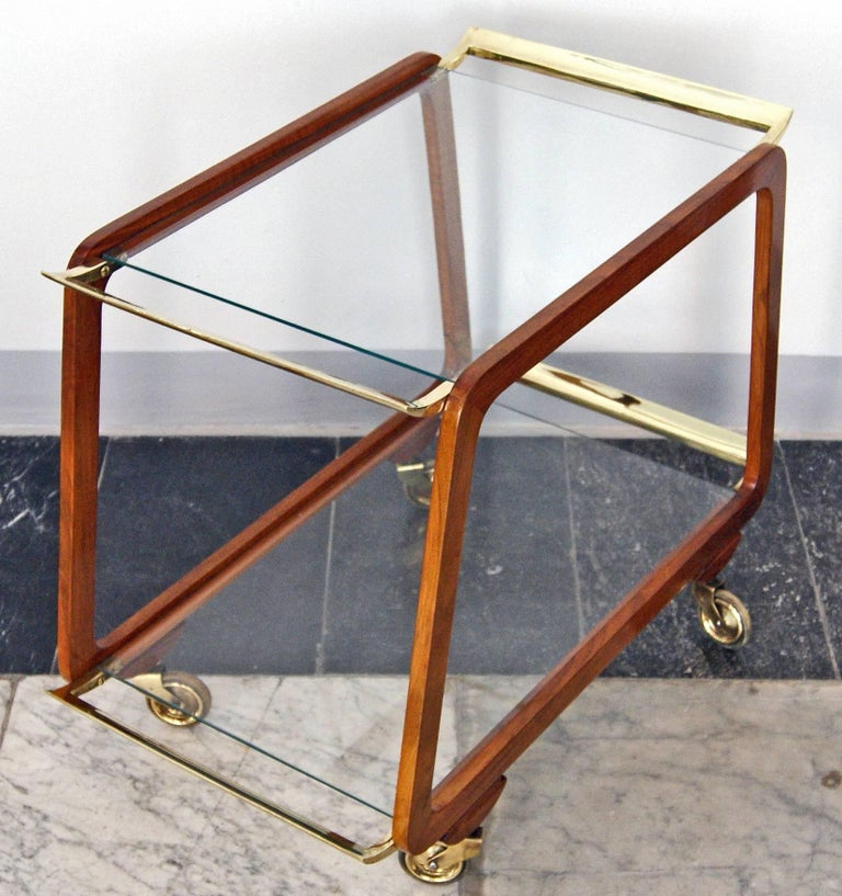 Austrian Vienna Art Deco Serving Trolley Bar Cart Nut Wood Glass Shelves Made circa 1930 For Sale