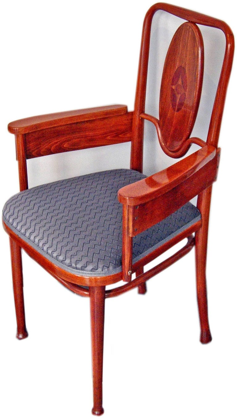 Thonet Vienna most elegant armchair  Please note: Two armchairs are available !  This armchair is Thonet model number 414. Related design made by Marcel Kammerer in year 1904 on behalf of Hotel Wiesler in Graz (Styria, Austria). Marcel