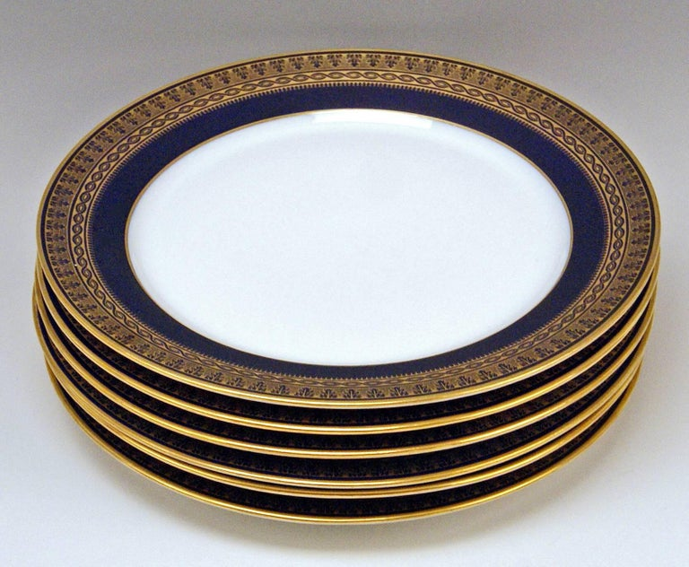 Meissen Art Nouveau Dinner Set Royal Blue Gold Six Persons Hans Hentschel In Excellent Condition For Sale In Vienna, AT