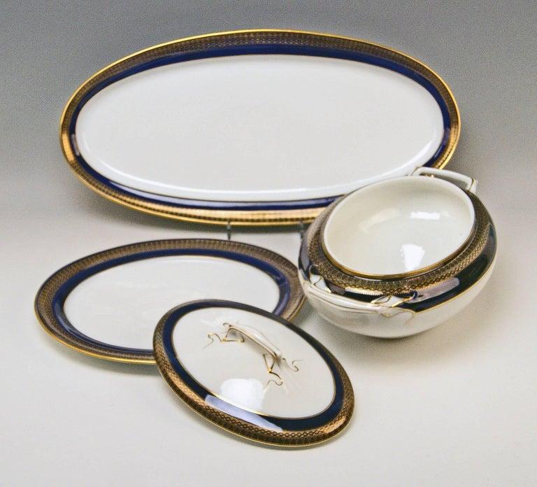Meissen Art Nouveau Dinner Set Royal Blue Gold Six Persons Hans Hentschel For Sale 1