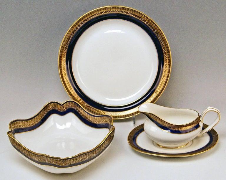 Meissen Art Nouveau Dinner Set Royal Blue Gold Six Persons Hans Hentschel For Sale 3