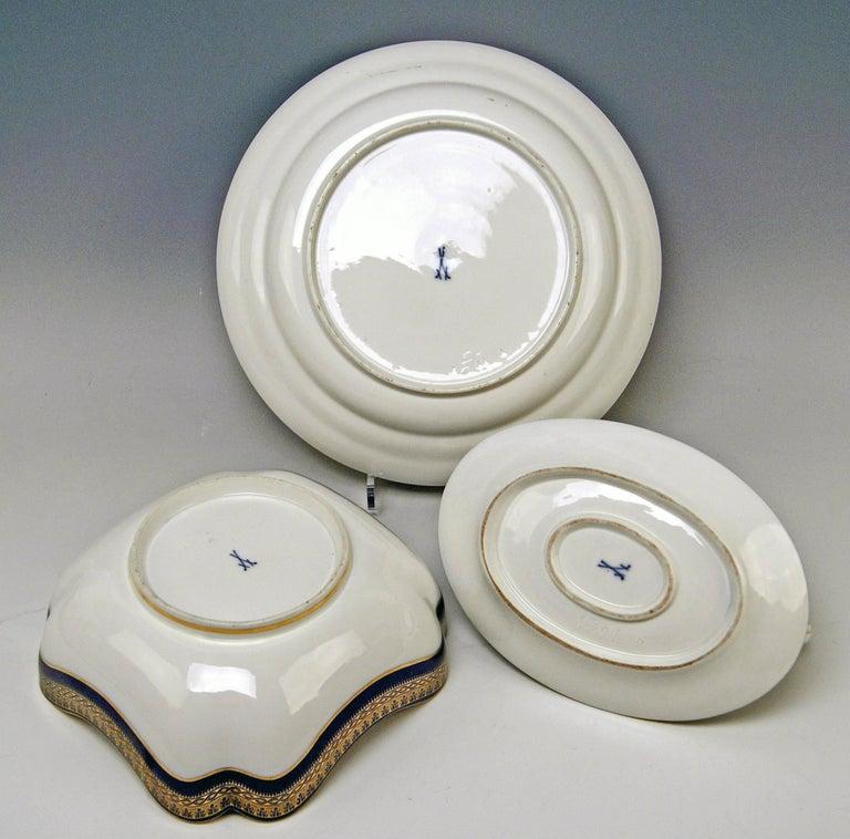 Meissen Art Nouveau Dinner Set Royal Blue Gold Six Persons Hans Hentschel For Sale 4