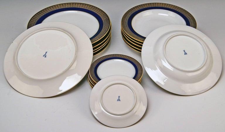Meissen Art Nouveau Dinner Set Royal Blue Gold Six Persons Hans Hentschel For Sale 6