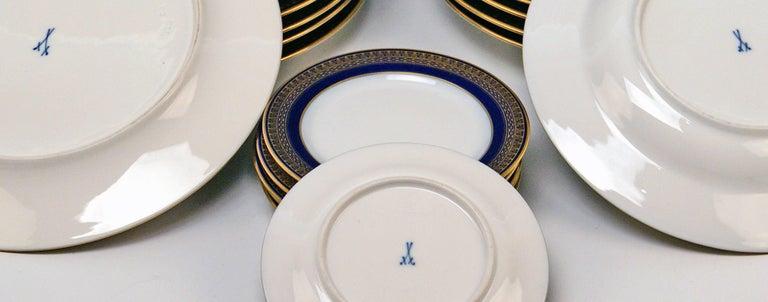 Meissen Art Nouveau Dinner Set Royal Blue Gold Six Persons Hans Hentschel For Sale 8
