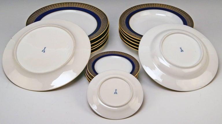 Meissen Art Nouveau Dinner Set Royal Blue Gold Six Persons Hans Hentschel For Sale 7
