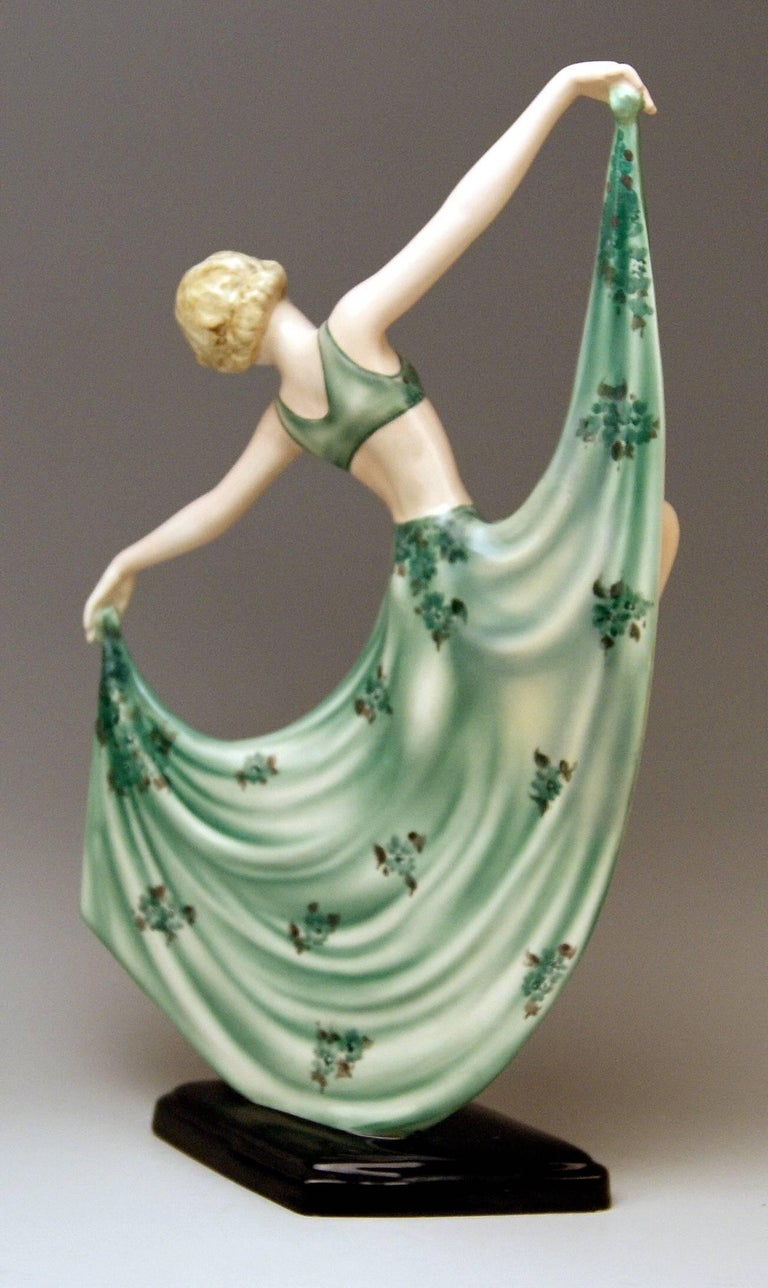 Painted Goldscheider Art Deco Lady Dancer by Josef Lorenzl Model 7053 Made 1936-1937 For Sale