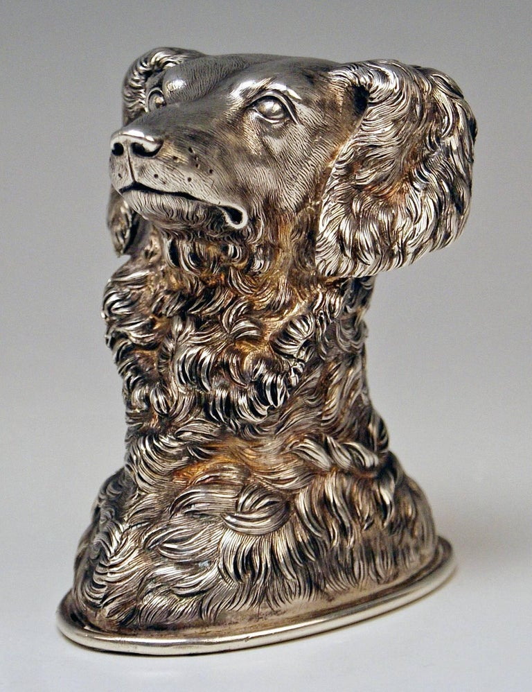 Sterling Silver Silver Russian Stirrup Cup Dog Head by Samuel Arnd St.Petersburg, 1856 For Sale