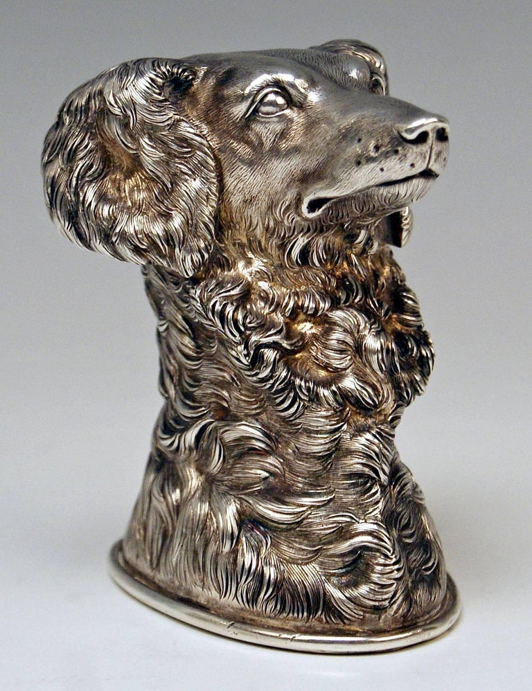 Silver Russian Stirrup Cup Dog Head by Samuel Arnd St.Petersburg, 1856 For Sale 1
