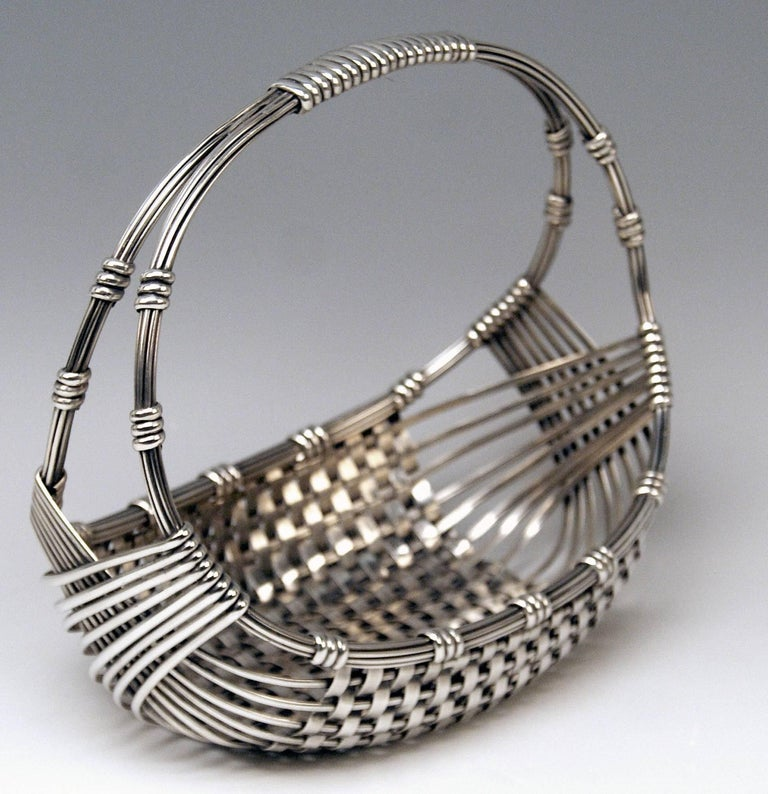 Austrian Silver Austria Vienna Art Nouveau Fruit Basket by Klinkosch, 1900 For Sale