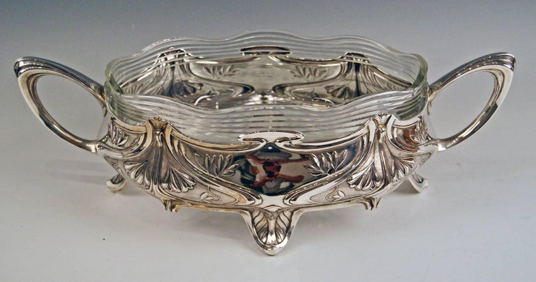 Silver 800 German Huge Flower Bowl / Centerpiece with original gorgeous glass liner width: 48.0cm (= 18.89 inches)!  Art Nouveau (made in circa 1900) Silver 800 (this mark is a bit rubbed) branded by German crescent with crown Manufactory