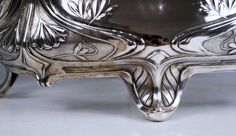 Silver Art Nouveau Flower Bowl, Germany Koch & Bergfeld, circa 1900 For Sale 4