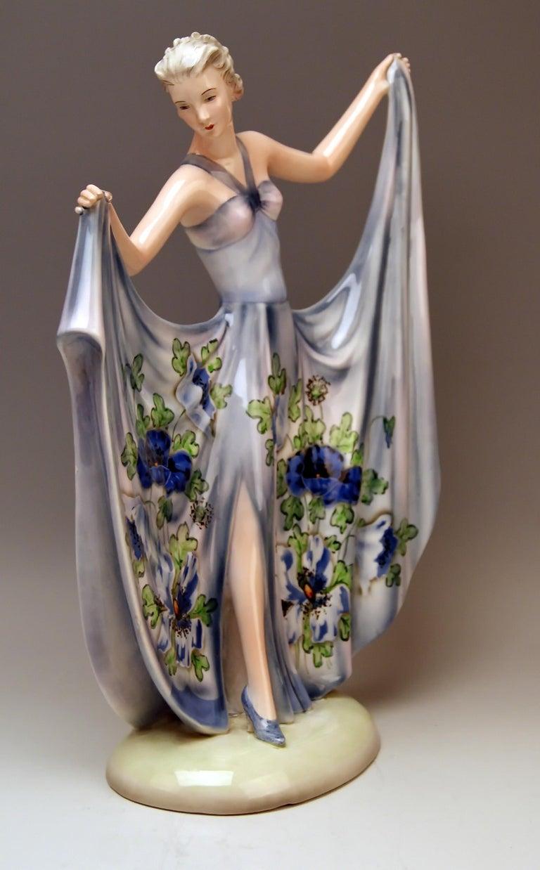 Art Deco Goldscheider Vienna Lady Dancer Study of Dancing Dakon Model 8126, circa 1939 For Sale