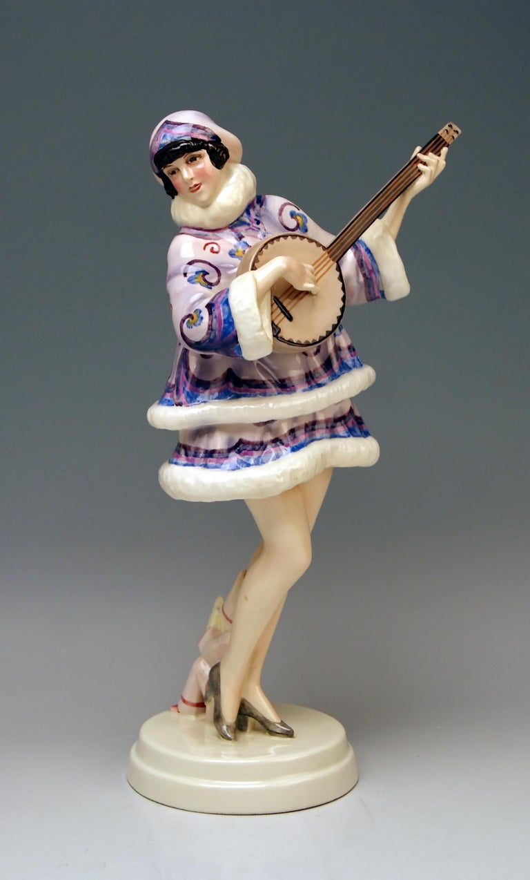 Goldscheider Vienna stunning lady figurine: The Banjo Player.