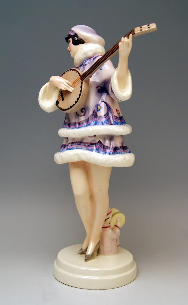 Art Deco Goldscheider Vienna Lady Banjo Player Zerline Balten Dakon Model 5659 circa 1930 For Sale